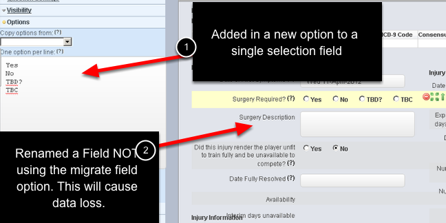 If you make a change to an Event Form on the Events Page in the Form Builder you will now be asked to confirm the save. The image here shows two changes being made.