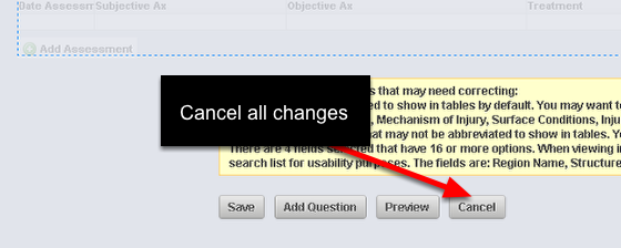 If you are going to lose data, the safest option is to Cancel the Form and any changes you have made to it.
