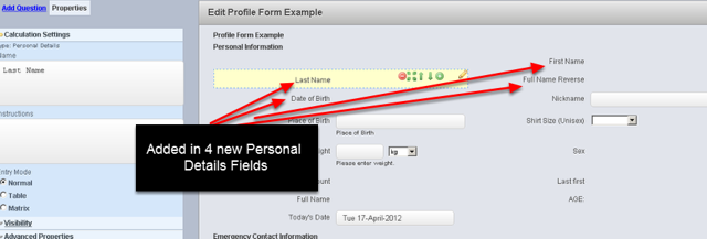 The example here shows that Personal Details fields being added into a Profile Form