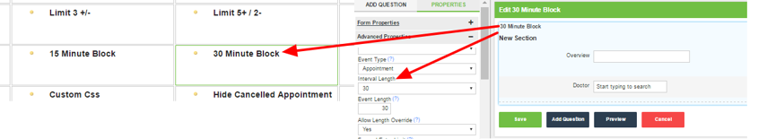 An appointment form has been set up with a 30 minute interval length