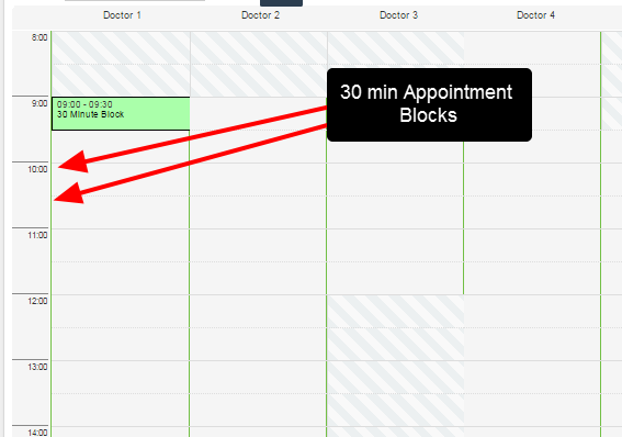 The appointment intervals on the appointment calendar collapse to the length of the Appointment Form