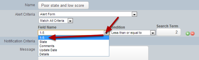 Now select the Field from the Event Form that you want to set up the Criteria For
