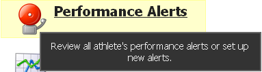 """To see a complete list of Activated Performance Alerts click on the """"Performance Alerts"""" button from the Home Page"""