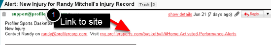 2.0 E-mail Alert example (Send Pdf and Append with athlete's details was not ticked)