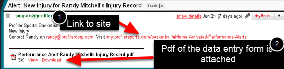 2.0 E-mail Alert example (Send Pdf and Append Athletes details was ticked)