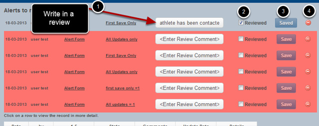 7.0 On the Activated Alerts Page, or the Athlete History Page you can Review the Alert or Delete it.