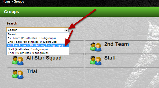 "To load a group using the Search Module, click on the ""Search"" dropdown. Select any of the groups that appear."