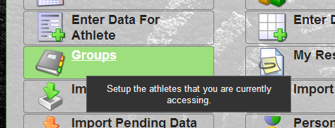 To change groups, click on the groups button and then select a different group of athletes.