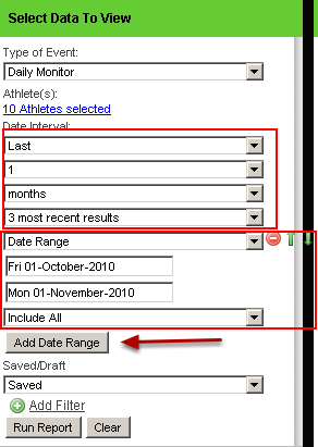 """You can even include 2 date periods if you require, by clicking on """"Add Date Range"""""""