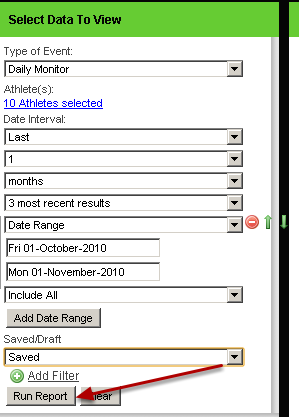 If you select run report now, all of the data for that specific time period will be included in the report