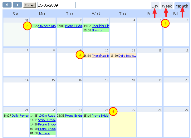 View the Athlete's Calendar as a Month, Week or Day