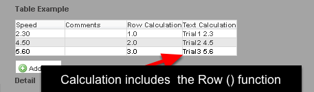The example of using the Row Count function field in an equation in the Table.