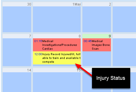 """You could also use the Auto Colour to set the injury status in an injury record as the Calendar Auto Colour. The injury status here has been set as an Auto Colour Field. YOU can see that the injury status is """"available to train and compete"""", and is a dark yellow."""