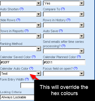 N.B. If you also set up the Custom Calendar Colours for this form, the Calendar Auto Colour field colours will override the Calendar Planned and Calendar Saved colours