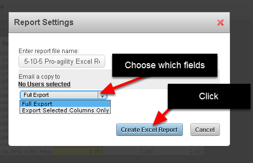 Choose to export all of the columns (fields), or just the columns (fields) that are showing in the athlete history. Click Create Excel Report
