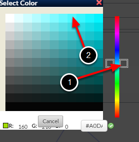 Select the colour of the second time series in a chart.