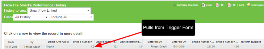 This triggers the SmartFlow Linked Form to be entered. Note, the linked number pulls through 1