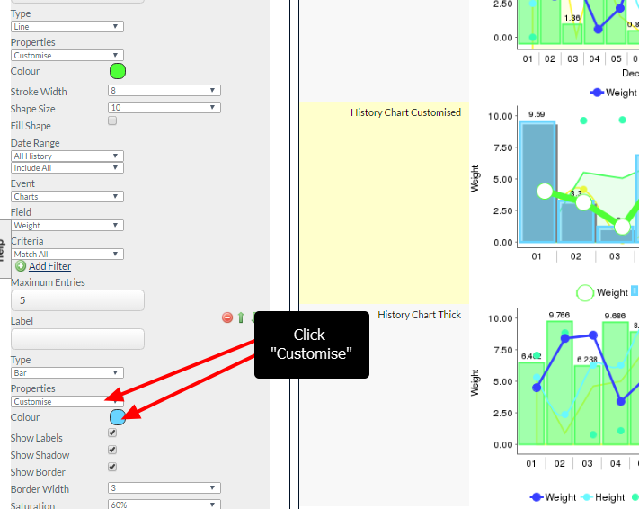 """Any other fields in the In Form Chart can now be modified by going to the selected value and selecting """"Customise"""""""