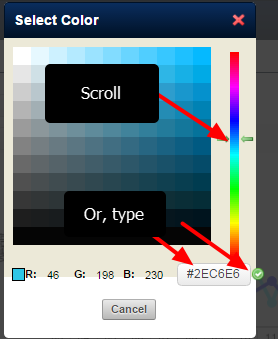 Scroll to the correct spectrum and click on a coloured cell, or type in the # code and click the green tick box(as shown here)