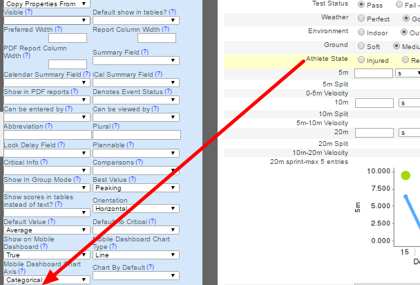 Then choose the Axis: Options and option calculations fields MUST be set with a categorical axis