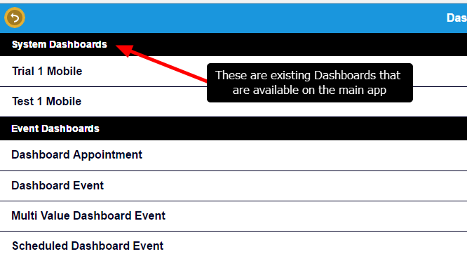 When a user has access to mobile enabled Dashboard, and or access to an Event Forms with fields set to Appear on the Mobile Dashboard, the Dashboards appear within the Dashboards Module