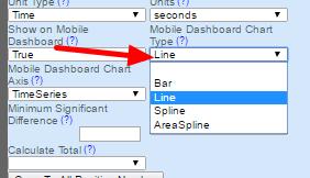 Next choose the Mobile Dashboard Chart Type (Bar, Line, Spline, AreaSpline)