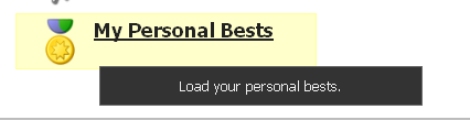 """Click on the """"My Personal Bests"""" button on the Home Page"""
