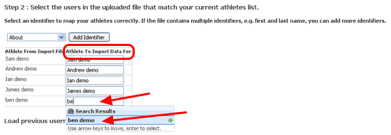 Match up your athletes with the correct usernames