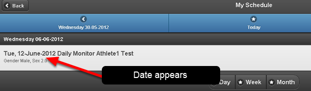 The Date is appearing for any entries showing on the My Schedule Page. This enables users to see when events were scheduled in the Week and Month view