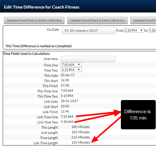 The Linked Time fields are used to calculate out the difference