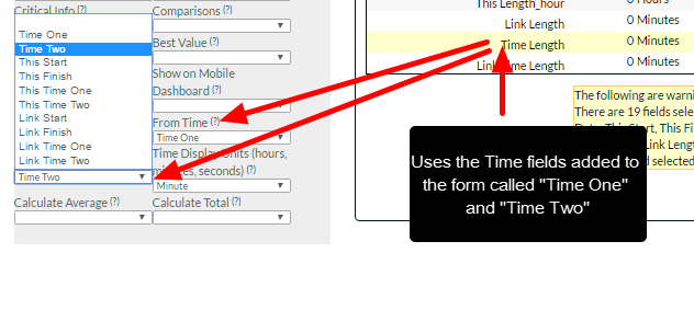 The Time Difference can calculate difference between any two time fields (including Time fields added into the Event Form)