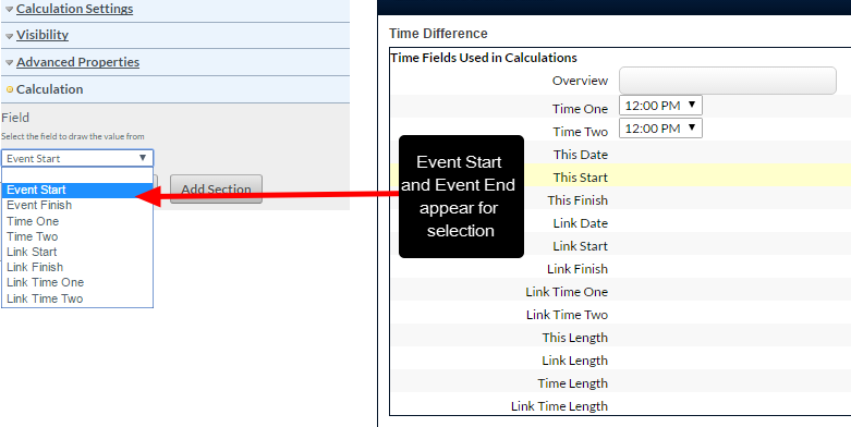 The Time Calculations can reference Event Start and Event End (the Start and End Time that appear as part of the On Date selection)
