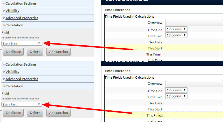 The example here shows the Time Calculations here are returning the Start Time and the End Time