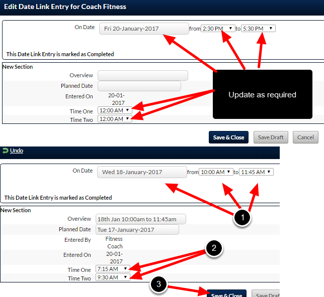 Enter in the desired Date and Time information in the Linked Event Form