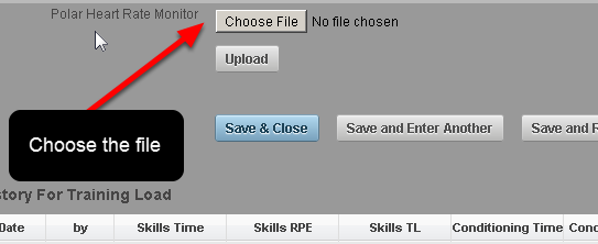 If one of the Event Forms in your system is set up to have Polar Heart Rate files uploaded into it, you can upload a .hrm file directly into the system. Choose the file you want to upload