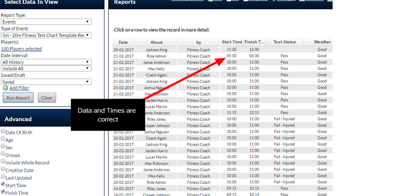 Run a report and confirm the data was imported correctly and ensure the Start Time and Finish Time are selected in the Report settings