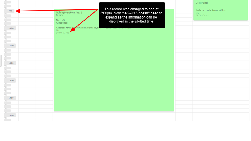 An example of the alternate Preview Schedule Layout with the end time changed to 3pm
