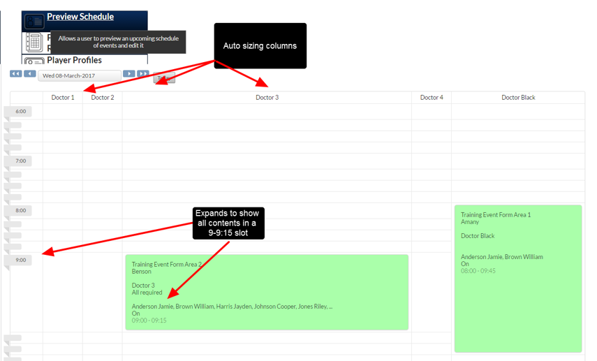 New Preview Schedule Layout (columns and cell height auto-size to fit Scheduling Event summary information)