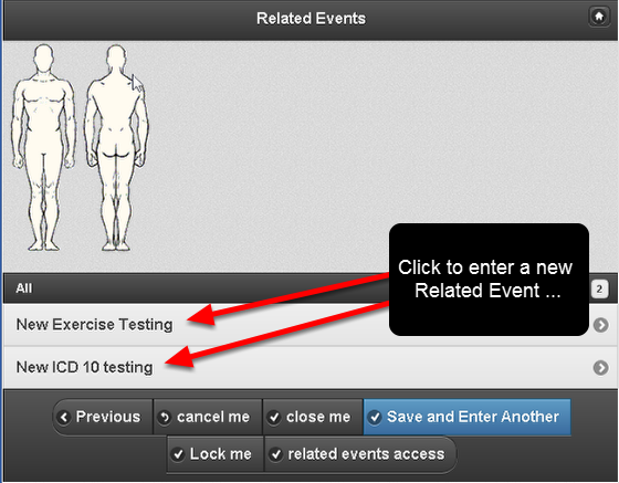 You can click directly on the name of the Related Event available in the Related Events List to enter in a new Event