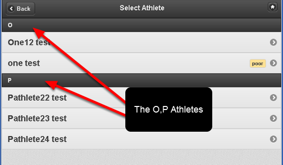Once the Group is opened you can quickly select on the correct athlete without having to scroll down the list of hundreds of athletes.