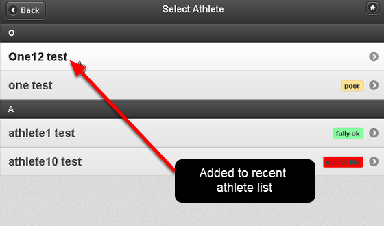 This will help speed up athlete selection when entering or reviewing data
