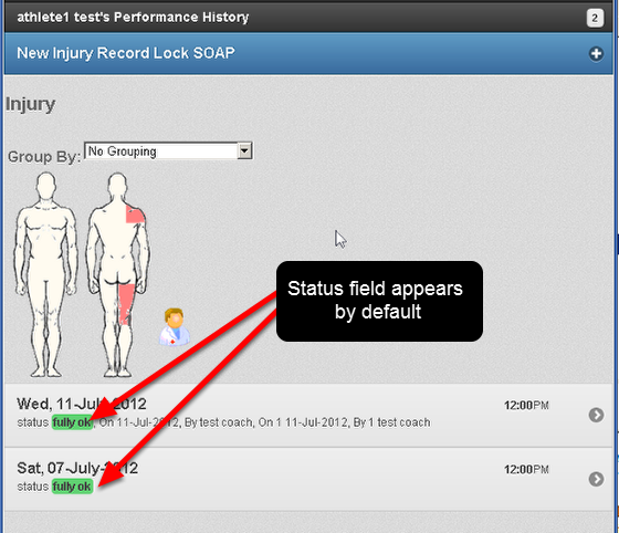 Now when you view the Athlete History, for the Event Form that generates the athlete status, the status field appears automatically in the record summary. This was previously not enabled