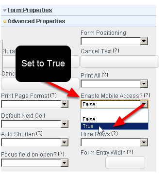 "Go to the Advanced Properties and set the ""Enable Mobile Access?"" to ""True"" and Save the Database changes"