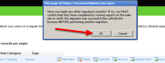 You will be asked to confirm that no other migrations are still happening