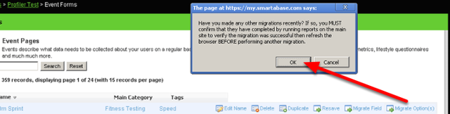 """Please note that if you do a """"Migrate Field"""" or """"Migrate Option(s)"""" the builder who is logged in will also receive an e-mail confirming that the migration is complete"""