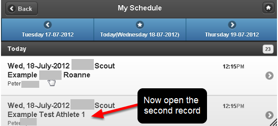 Open the other record from the My Schedule Page and update it