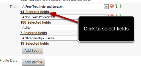 "To de/select the fields click on the ""14 Selected Fields"" link directly underneath the Event Form Name"