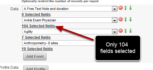 Now only 104 fields show as selected fields to be included in the Excel Report (instead of the original 160)