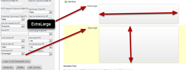 A new Paragraph Text size of ExtraHeight has been created. You can change any Paragraph of Text Field to this size.