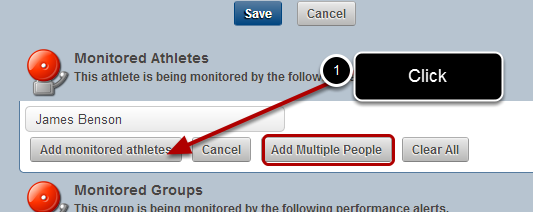 """Click """"Add monitored athletes"""" and the user will be added to the Monitored Athlete List"""